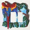 Hand Painted Parrot Rocker Switchplate - Scarlet Macaw Switch Plate Cover