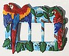 Painted Metal Parrot Light Switch Plate - Rocker Style - Scarlet Macaw