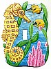 Painted Metal Seahorse Switchplate - Tropical Design - Light Switch Cover