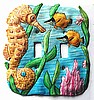 Hand Painted Metal Seahorse Toggle Switchplate - Tropical Switch Cover