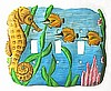 Painted Metal Seahorse Triple Switchplate Cover -Tropical Home Decor