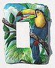 Painted Metal Toucan Parrot Switchplate Cover - Haitian Steel Drum Art