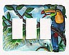 Toucan Triple Switchplate Cover - Tropical Design - Hand Painted Tropical Home Decor