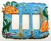 Painted Metal Decorative Tropical Fish Switchplate - Light Switch Cover