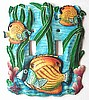 Tropical Fish Toggle Switchplate Cover - Painted Metal Tropical Home Decor