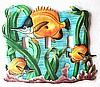 Painted Metal Gold Tropical Fish Switchplate - Tropical Design Switch Plate Cover