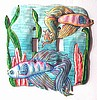 Double Light Switchplate Cover - Pastel Betta Fish - Painted Metal Light Switch