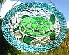 "Stained Glass Green Turtle Suncatcher - Nautical Design - 8 1/2"" x 10 1/2"""